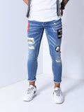 Ripped Jeans With Patch Details - Zzyzx Road Apparel