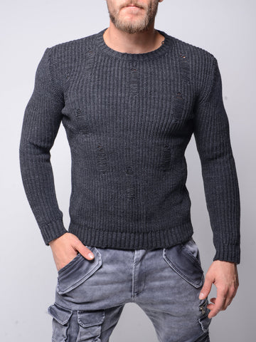 Distressed Gray Sweater - Zzyzx Road Apparel