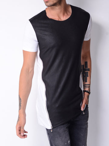 White Zip T-shirt with Black Leather Look Panel - Zzyzx Road Apparel