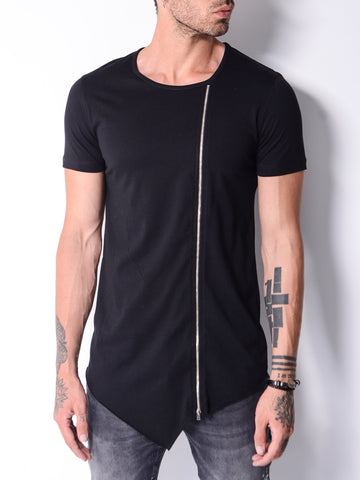 Black T-shirt With Zip Detail - Zzyzx Road Apparel