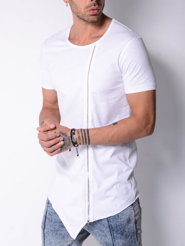 White T-shirt With Zip Detail - Zzyzx Road Apparel