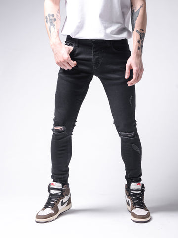 Black Ripped Jeans Skinny Fit - Zzyzx Road Apparel