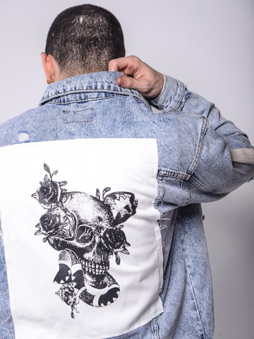 Skull Patched Denim Jacket - Zzyzx Road Apparel