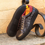 The Trainer in Black Croco Embossed Calf and Red Painted Calf - Zzyzx Road Apparel