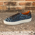 The Trainer in Blue Leopard Print and Black Painted Calf - Zzyzx Road Apparel