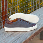 The Trainer in Light Grey Flannel with Dark Brown Box Calf - Zzyzx Road Apparel