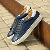 The Trainer in Navy Blue Genuine Ostrich and White Box Calf - Zzyzx Road Apparel