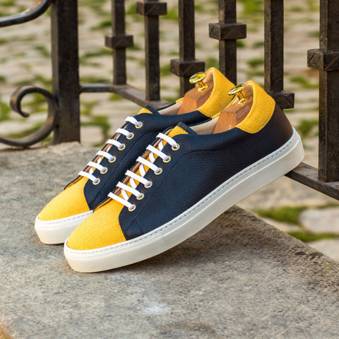The Trainer in Navy Blue Painted Full Grain Leather with Mustard Linen - Zzyzx Road Apparel