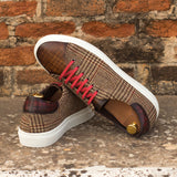 The Trainer in Raw Crust Italian Leather with a Brown and Burgundy Hand Patina and Tweed - Zzyzx Road Apparel