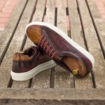 The Trainer in Raw Crust Italian Leather with a Cognac and Burgundy Hand Patina - Zzyzx Road Apparel