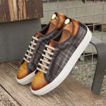The Trainer in Raw Crust Italian Leather with a Cognac and Grey Hand Patina Finish - Zzyzx Road Apparel