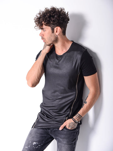Black Zip T-shirt with Leather Look Panel - Zzyzx Road Apparel