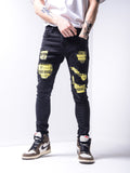 Distressed Denim Jeans with Biohazard Patches - Zzyzx Road Apparel