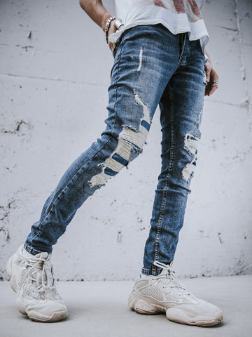 Blue Distressed Denim Jeans - Zzyzx Road Apparel
