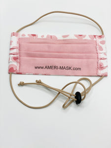 Leopard Print Face Mask in shades of pink designed by artist Laura Ford