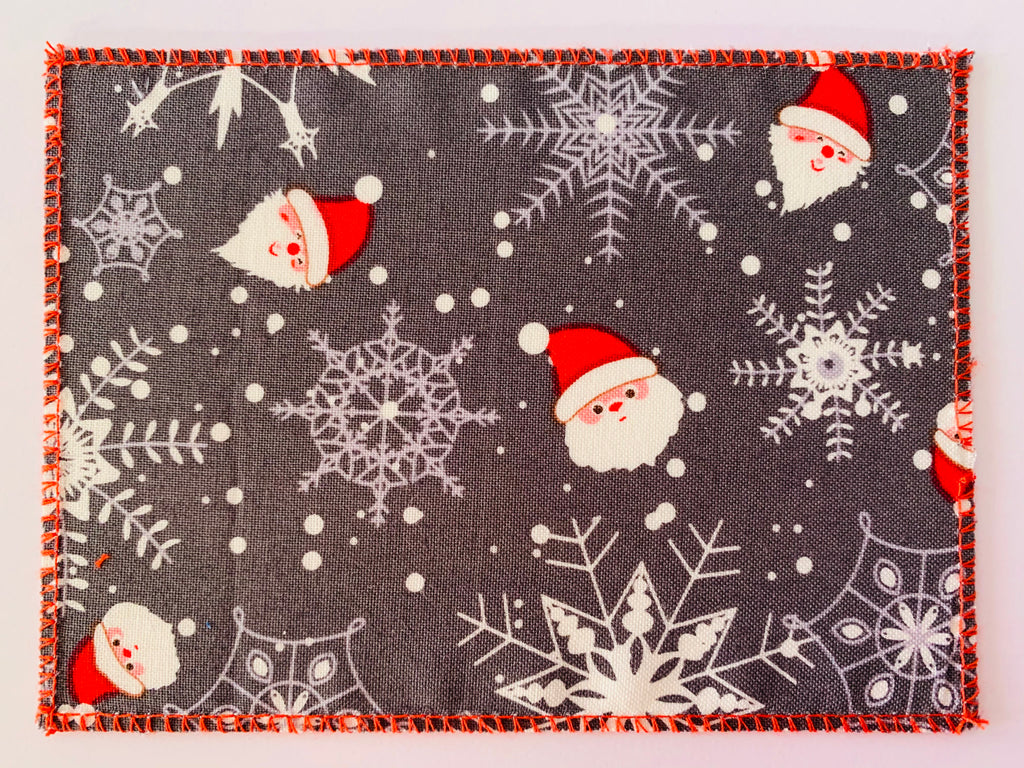 Santa & Snowflakes on Grey