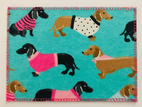 Weiner Dogs in Pink Sweaters