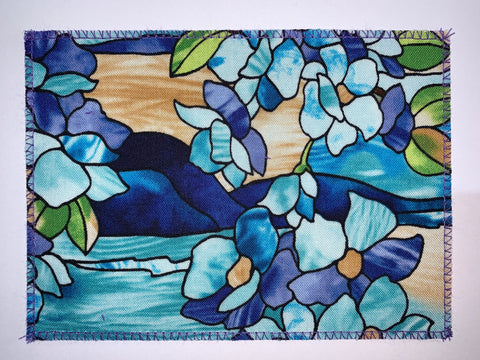Stained Glass Blue Floral