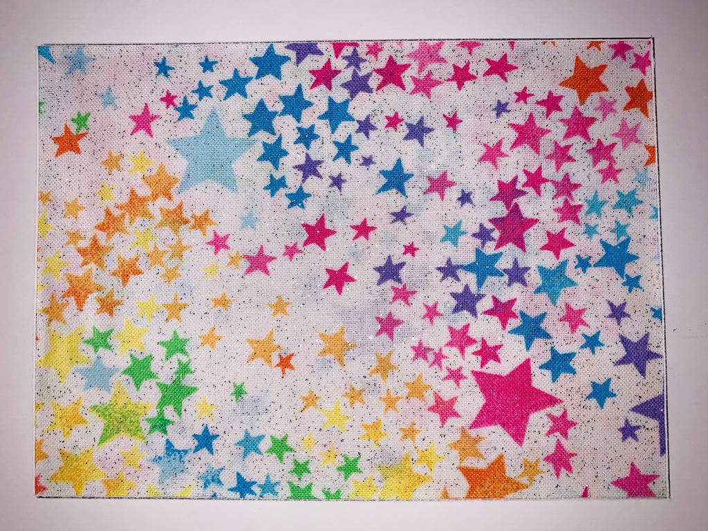 Rainbow Glitter Stars on White
