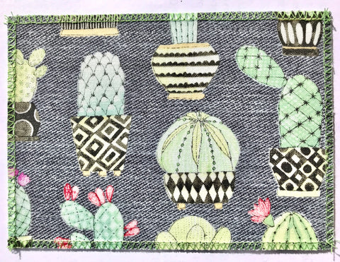 Grey Cactus Duck Cloth