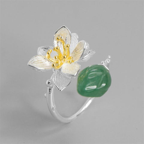 Aventurine Lotus Flower Adjustable Ring