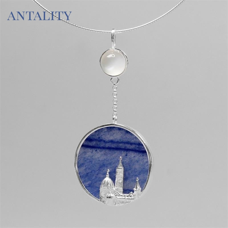 Aventurine Florence Cathedral Pendant Necklace - Antality Handcrafted Handmade Unique Sterling Silver Art Jewelry