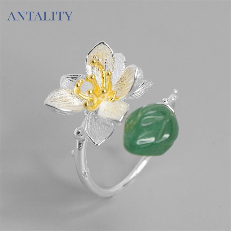 Aventurine Lotus Flower Adjustable Ring - Antality Handcrafted Handmade Unique Sterling Silver Art Jewelry