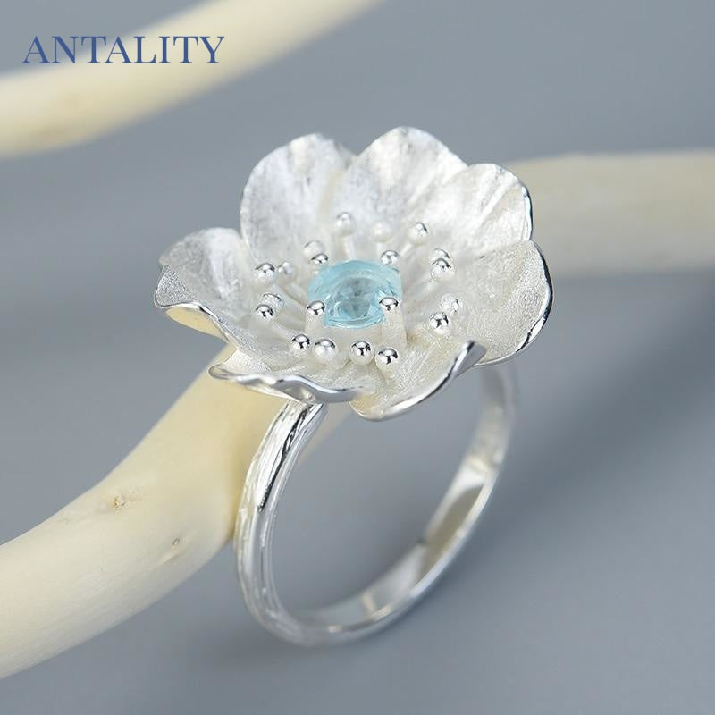 Blooming Anemone Flower Ring - Antality Handcrafted Handmade Unique Sterling Silver Art Jewelry