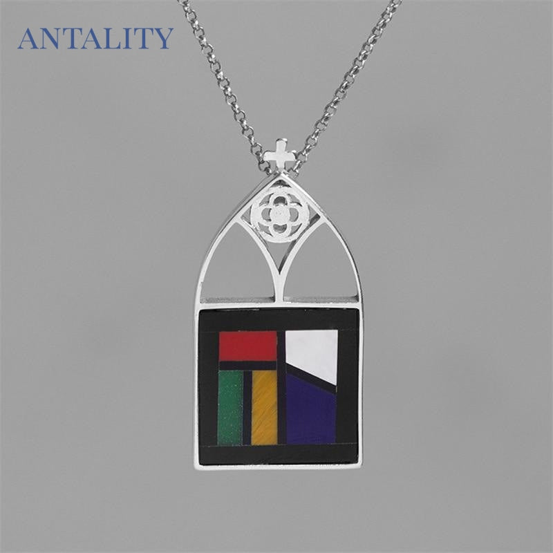 Cathedral Glass Window Cross Pendant Necklace - Antality Handcrafted Handmade Unique Sterling Silver Art Jewelry