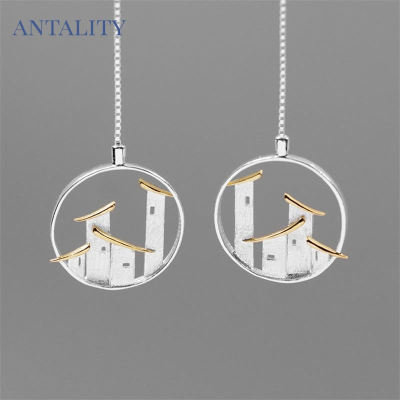 Folk House Long Drop Earrings - Antality Handcrafted Handmade Unique Sterling Silver Art Jewelry