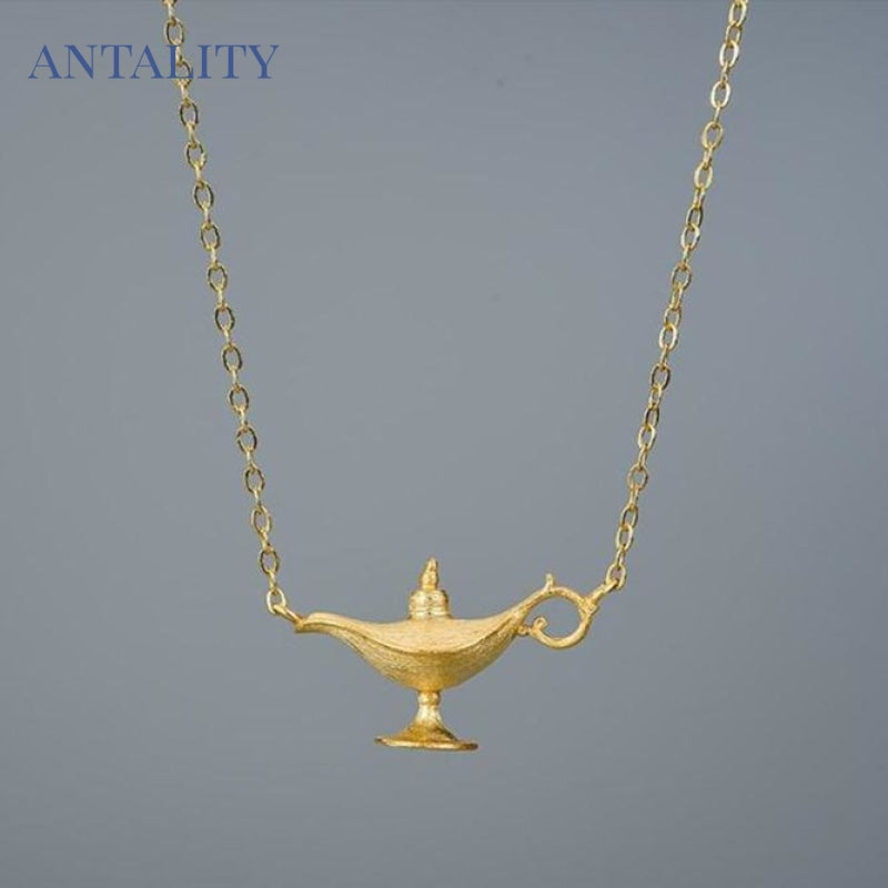 Gold Aladdin's Lamp Pendant Necklace - Antality Handcrafted Handmade Unique Sterling Silver Art Jewelry