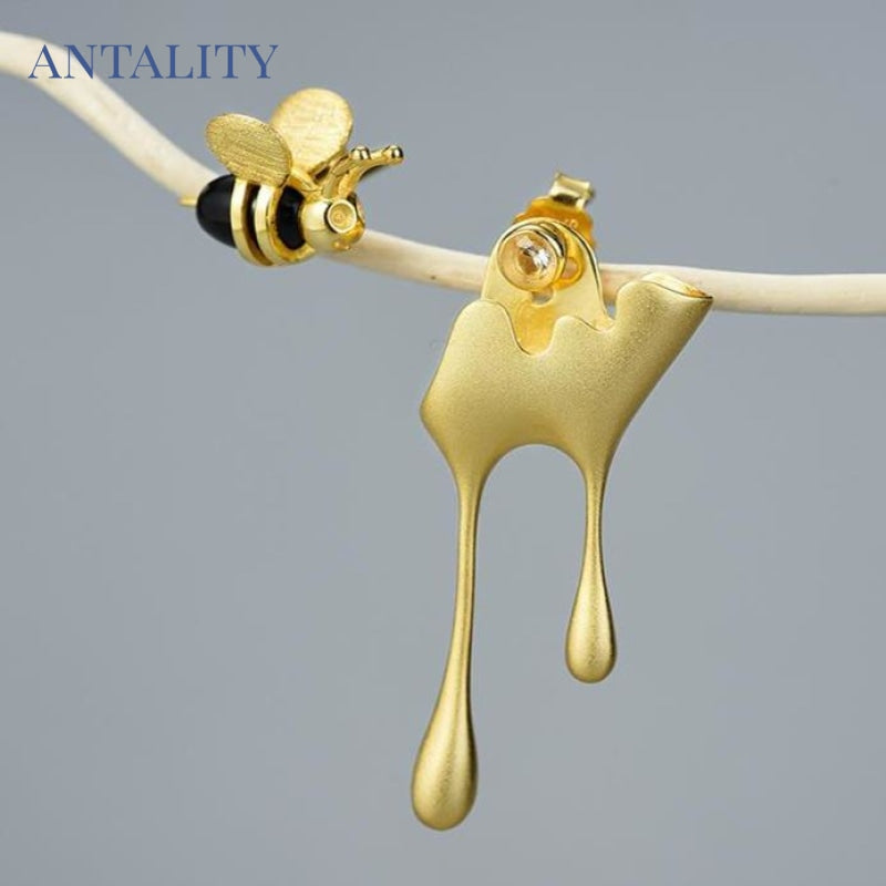 Gold Bee and Dripping Honey Earring Set - Antality Handcrafted Handmade Unique Sterling Silver Art Jewelry