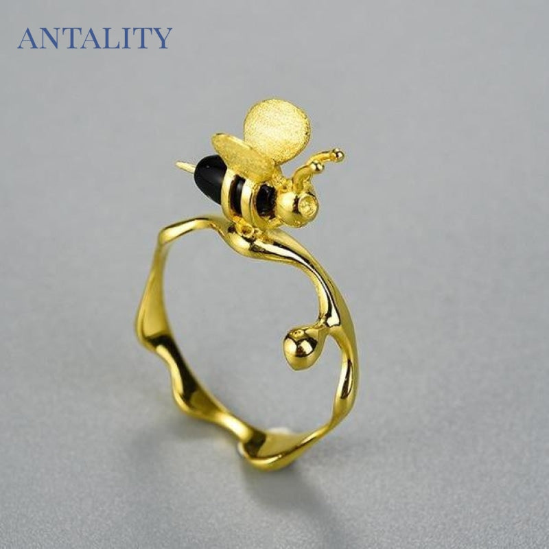 Gold Bee and Dripping Honey Ring - Antality Handcrafted Handmade Unique Sterling Silver Art Jewelry