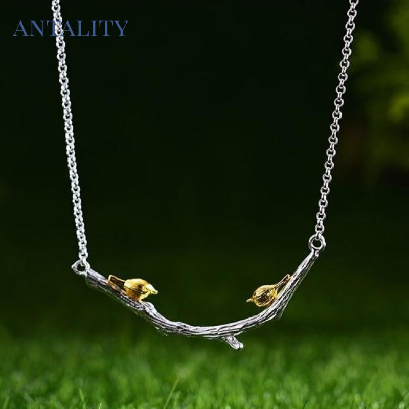 Gold Bird on Branch Necklace - Antality Handcrafted Handmade Unique Sterling Silver Art Jewelry
