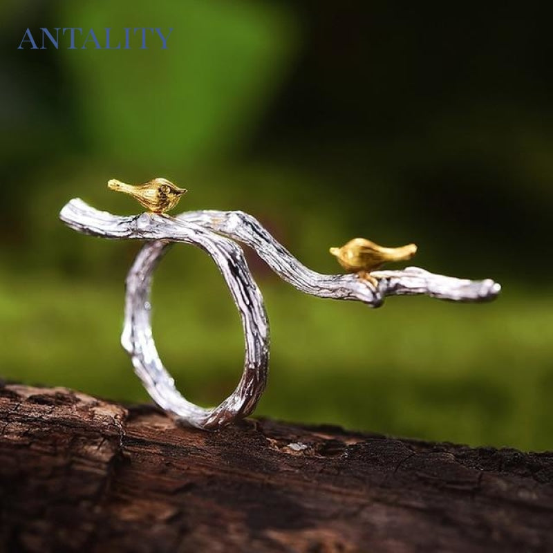 Gold Bird on Branch Ring - Antality Handcrafted Handmade Unique Sterling Silver Art Jewelry