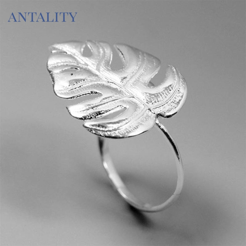 Gold Monstera Leaf Ring - Antality Handcrafted Handmade Unique Sterling Silver Art Jewelry