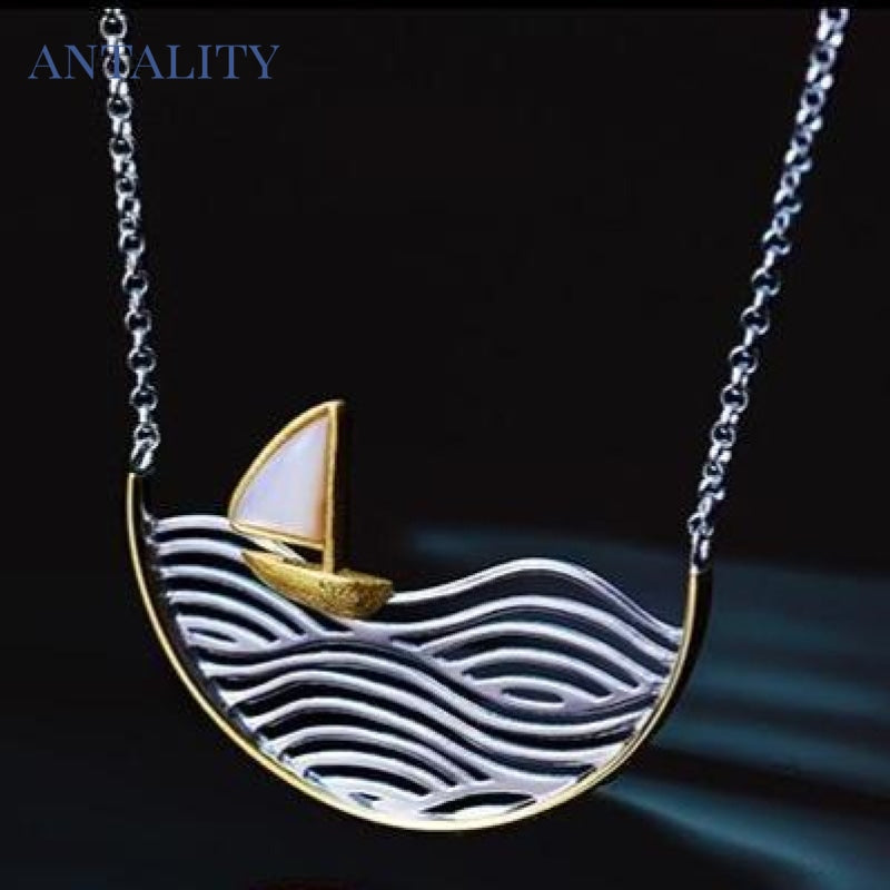 Gold Sailboat Necklace - Antality Handcrafted Handmade Unique Sterling Silver Art Jewelry