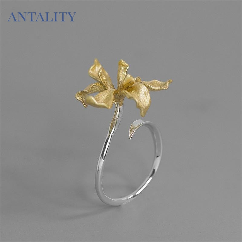 Iris Flower Adjustable Ring - Antality Handcrafted Handmade Unique Sterling Silver Art Jewelry