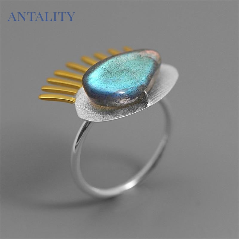 Labradorite Personality Eye Adjustable Ring - Antality Handcrafted Handmade Unique Sterling Silver Art Jewelry