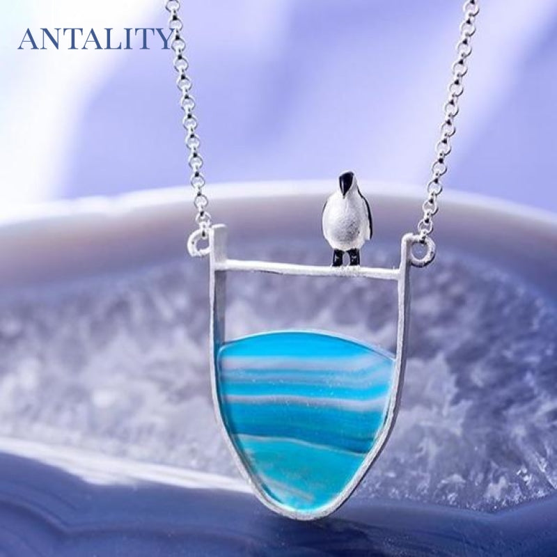 Natural Agate Lovely Penguin Pendant Necklace - Antality Handcrafted Handmade Unique Sterling Silver Art Jewelry