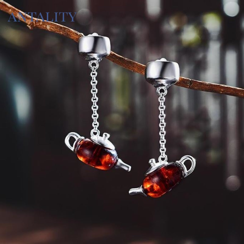 Natural Amber Teapot Dangle Earrings - Antality Handcrafted Handmade Unique Sterling Silver Art Jewelry