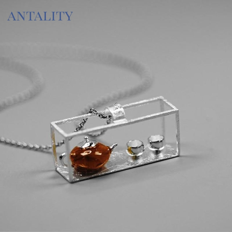 Natural Amber Teapot Pendant - Antality Handcrafted Handmade Unique Sterling Silver Art Jewelry