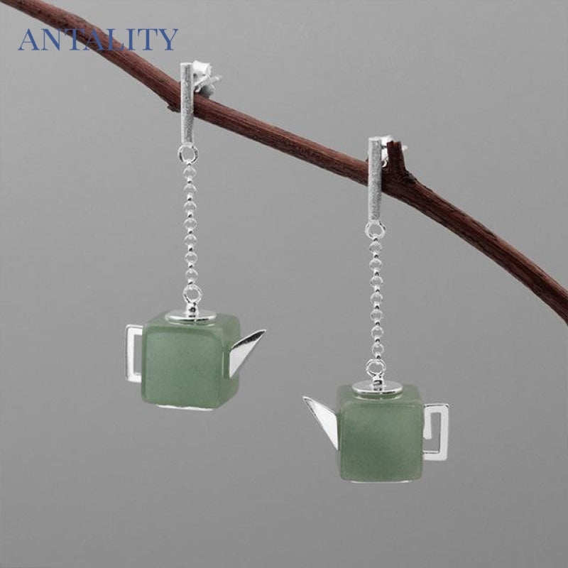 Natural Aventurine Vintage Square Teapot Dangle Earrings - Antality Handcrafted Handmade Unique Sterling Silver Art Jewelry