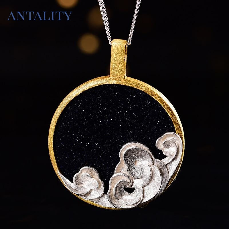 Natural Gemstone Starry Waves Pendant Necklace - Antality Handcrafted Handmade Unique Sterling Silver Art Jewelry