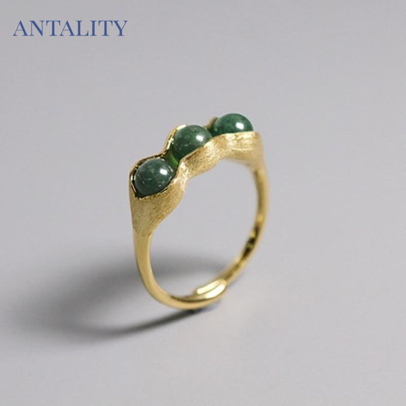 Natural Stones Creative Pea Pods Ring - Antality Handcrafted Handmade Unique Sterling Silver Art Jewelry