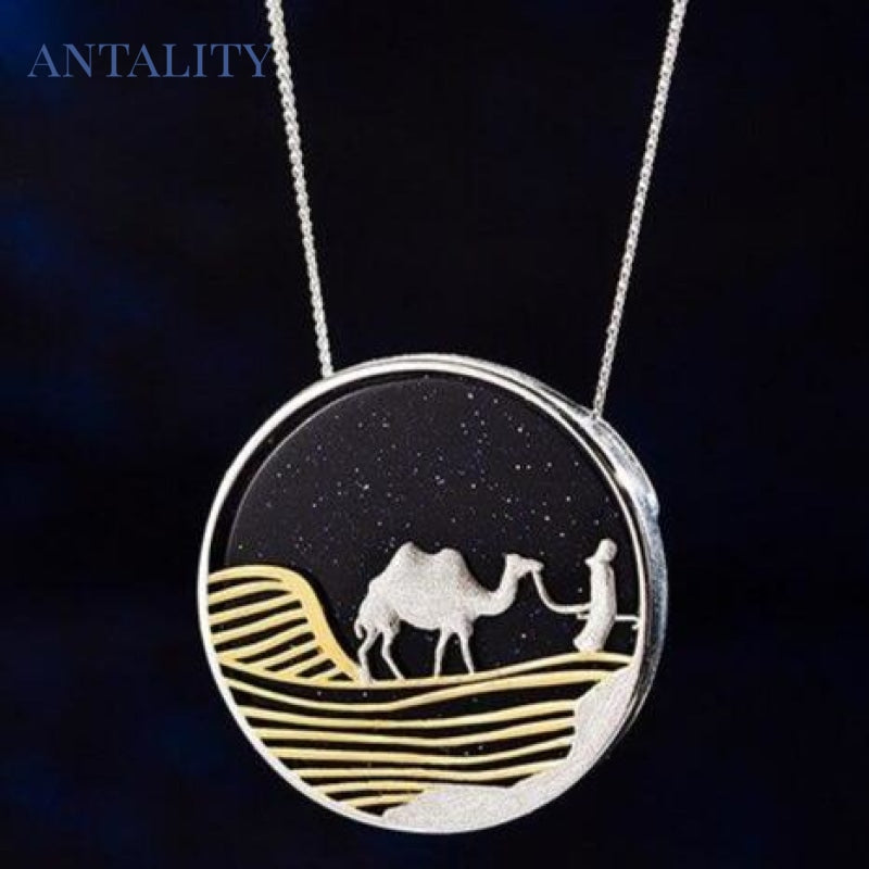 Starry Desert Nights Gold Pendant Necklace - Antality Handcrafted Handmade Unique Sterling Silver Art Jewelry