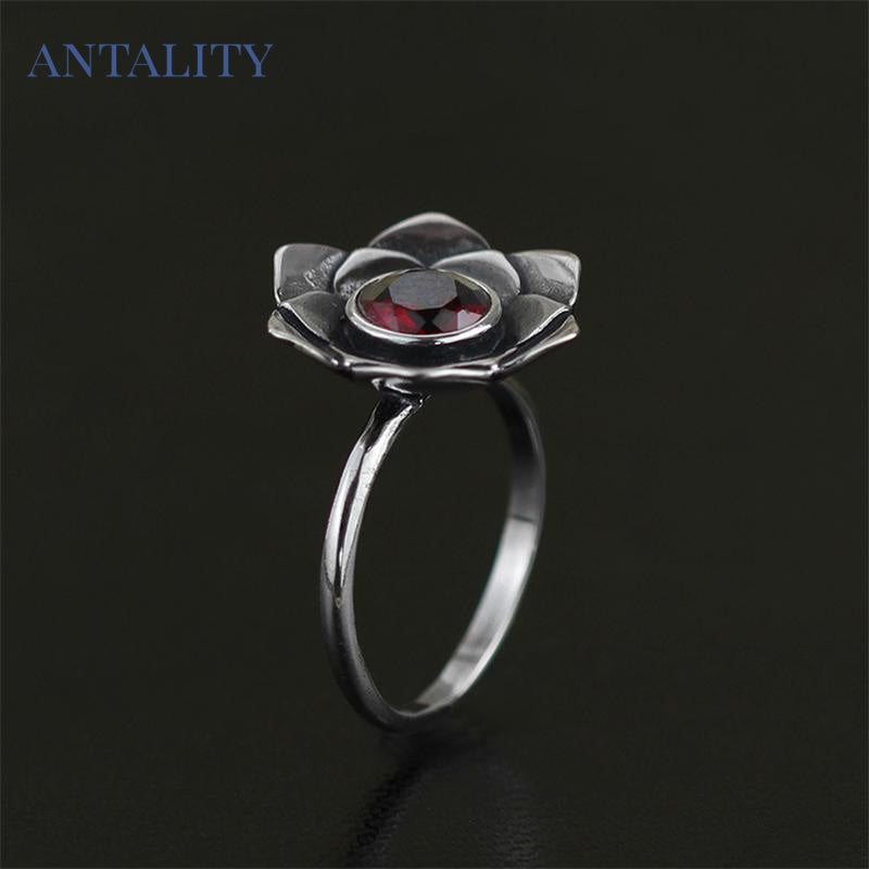 Vintage Pure Lotus Rings - Antality Handcrafted Handmade Unique Sterling Silver Art Jewelry