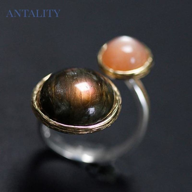 Natural Labradorite Moonlight Mysterious Lake Ring - Antality Handcrafted Handmade Unique Sterling Silver Art Jewelry