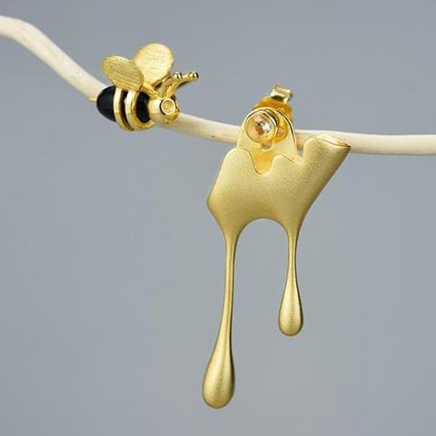 Gold Bee and Dripping Honey Earring Set