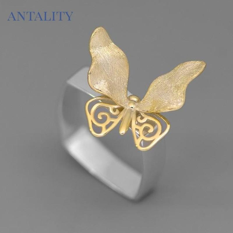 ANTALITY  Luxury Butterfly Rings - 925 Sterling Silver Jewelry - Antality Handcrafted Handmade Unique Sterling Silver Art Jewelry